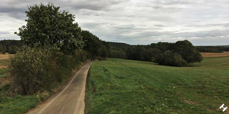 Blick ins Tal zum Sahnstau mit umliegenden Feldern