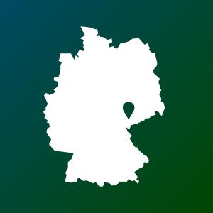 Darstellung von Deutschland mit einer Pin Nadel in Sachsen